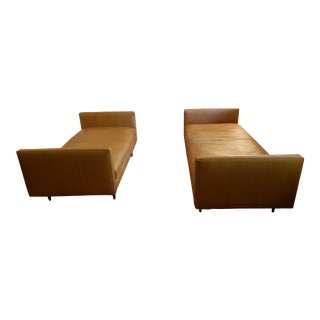 Room & Board Tan Classic Leather Sofas - A Pair For Sale