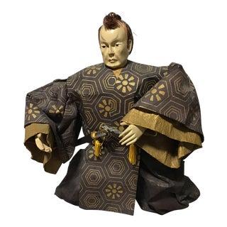Asian Warrior Ningyo Samurai Paper Mache Figurine For Sale