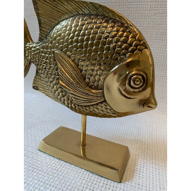 Vintage Brass Rainbow Fish Sculpture on Stand For Sale - Image 4 of 6