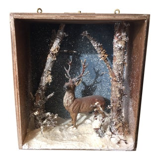 Folk Art Handmade Buck Winter Diorama Box For Sale