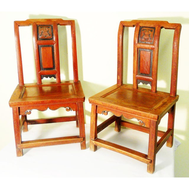 Wood Antique Chinese Zelkova Wood Children Chairs - a Pair For Sale - Image 7 of 7