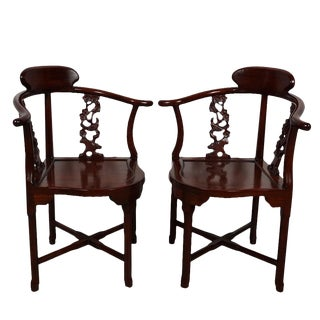 Vintage Chinese Carved Rosewood Corner Chair - a Pair