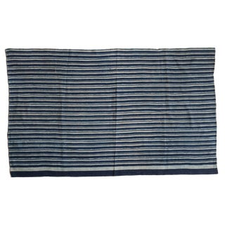 "Striped Indigo African Textile Throw - 3'4"" X 5'5"" For Sale"