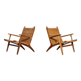 Pair of Hans Wegner Ch-27 Chairs, Carl Hansen & Son, Denmark, 1950s For Sale