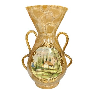 Mid 20th Century Vintage Italian Porcelain Gold Hand Painted Country Motif Vase For Sale
