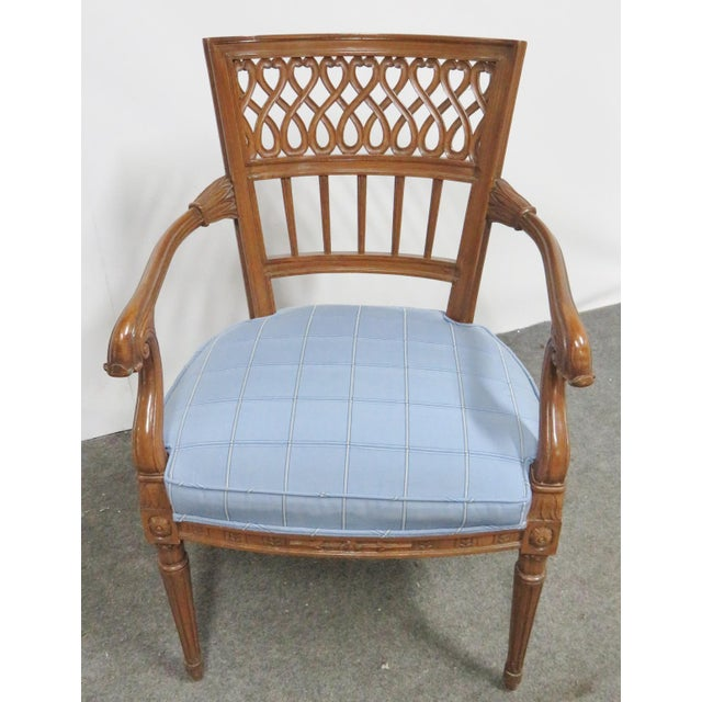 Italian Style Carved Fruitwood Arm Chair For Sale - Image 4 of 7