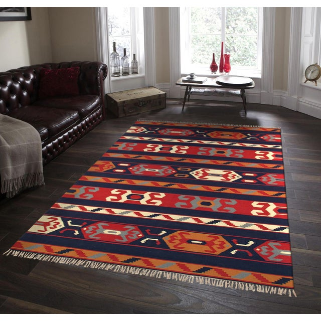 Anatolian Hand-Woven Cotton Rug- 4' X 6' For Sale - Image 4 of 5