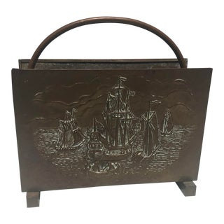 1950s Brass Magazine Rack With Ships by Peerage England For Sale
