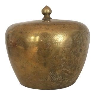 Vintage Chinese Inspired Brass Jar