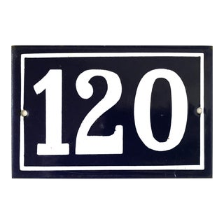 Mid 20th Century Vintage French Enamel House Number Plaque 120 For Sale