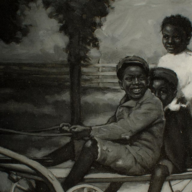 """""""Joyful Youth"""" Contemporary Figurative Oil Painting by C.G. Bowers, Framed For Sale In Philadelphia - Image 6 of 12"""