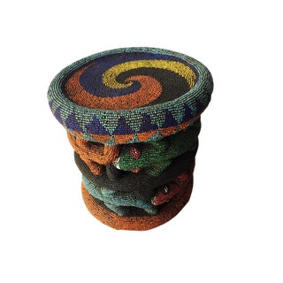 "Beaded Wood Bamileke Crocodiles Stool /Table Cameroon 8.5'""h For Sale"