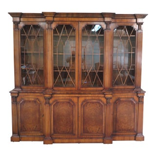 English Continental Walnut Breakfront Bookcase For Sale