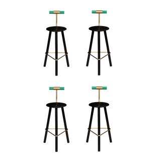 Customizable Set of 4 Erickson Aesthetics Charred Ash Tripod Stools with Backrest For Sale