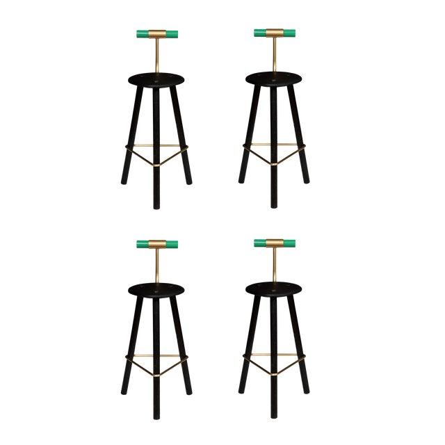 Customizable Set of 4 Erickson Aesthetics Charred Ash Tripod Stools with Backrest For Sale