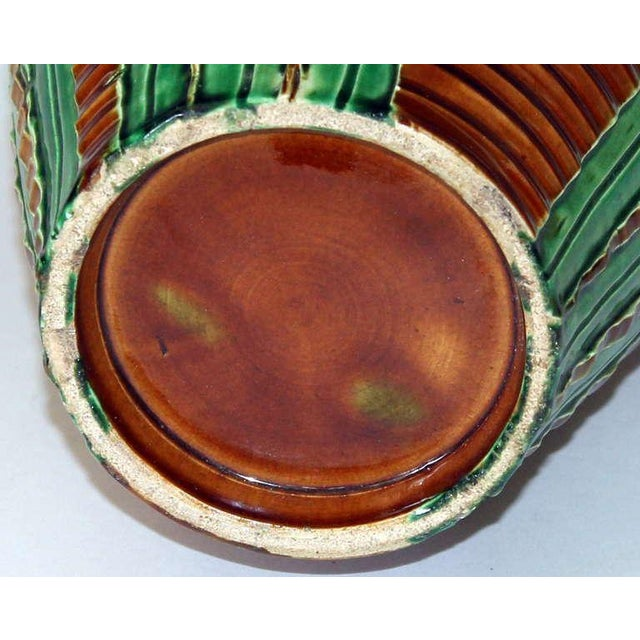 Early 20th Century Awaji Pottery Art Nouveau Carved Iris Vase For Sale - Image 5 of 11
