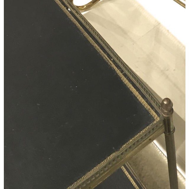 Maison Jansen Maison Jansen 1940s Pair of Two-Tier Side Table With Black Leather Patinated Top For Sale - Image 4 of 8