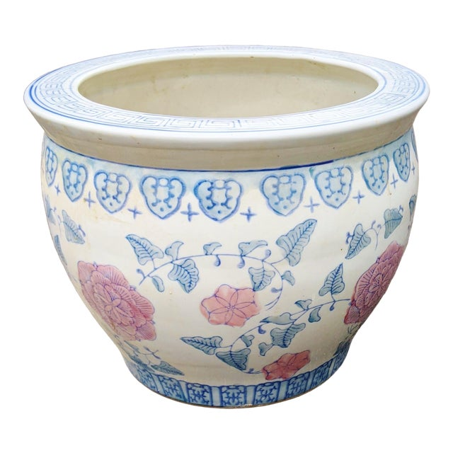 20th C Chinese Painted & Glazed Porcelain Roses Floral Fish Bowl Planter For Sale