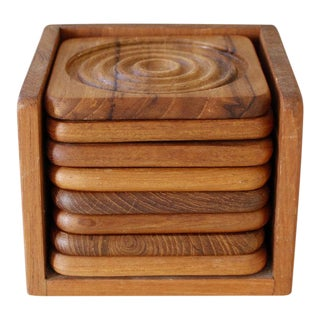 8 Goodwood Teak Coasters With Caddy Danish Modern