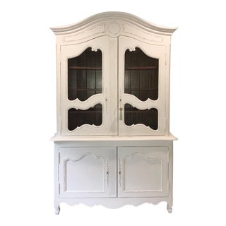 Contemporary French Provincial White China Cabinet