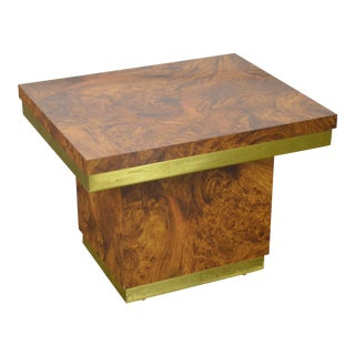 Mid Century Modern Faux Burl Wood & Brass Side Table