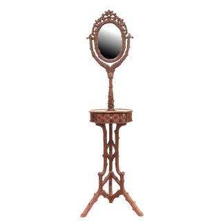 19th Century Rustic Black Forest Carved Walnut Shaving Mirror For Sale