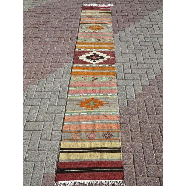 """Vintage Turkish Kilim Runner-2'x10'4"""" For Sale - Image 11 of 13"""