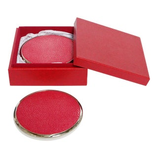 Red Shagreen Coasters by Fabio Ltd - Set of 6 For Sale