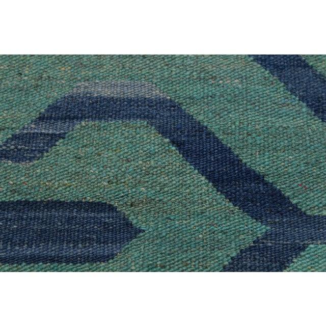 2000 - 2009 Tribal Kilim Angeliqu Green/Blue Hand-Woven Wool Rug - 3'2 X 4'11 For Sale - Image 5 of 8
