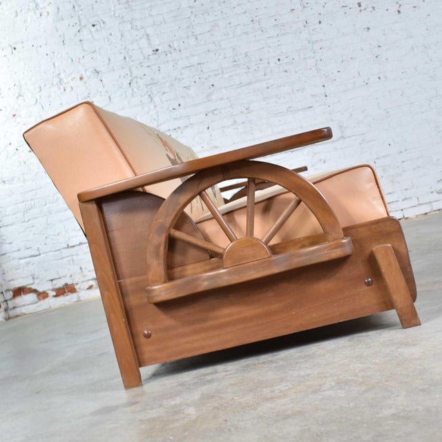 Mid Century Cowboy Western Wagon Wheel Convertible Dude Ranch Sofa For Sale - Image 6 of 13