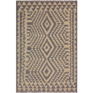 Cubism Inspired Kilim Jackquel Gray Hand-Woven Wool Rug -5′8″ × 7′8″ For Sale