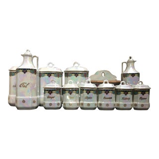 Luster Kitchen Canister Cruet Salt Box Storage Set - 12 Pieces For Sale