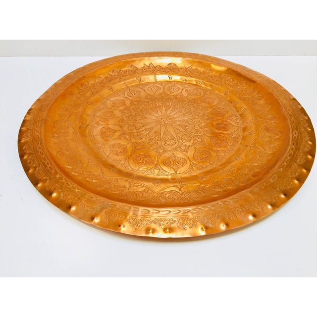 Moroccan Polished Round Metal Copper Tray For Sale - Image 11 of 12
