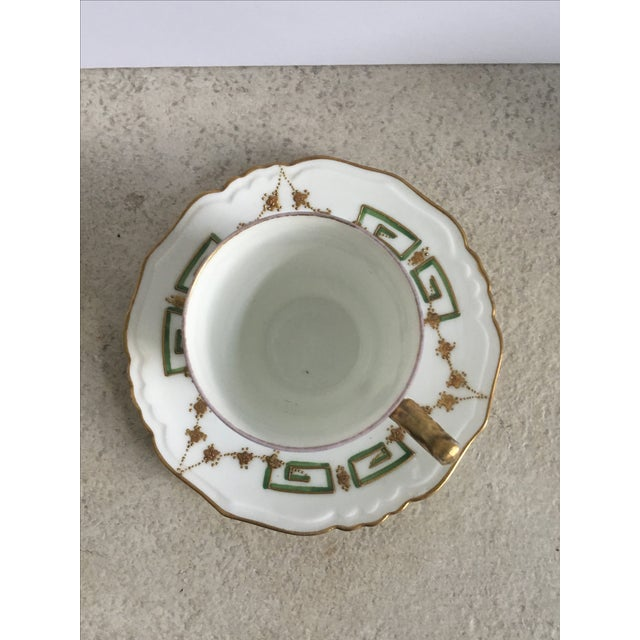 Antique Green, Gold & White Teacup & Saucer - Image 4 of 5