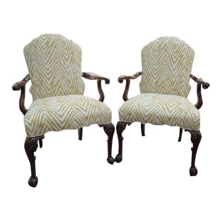 Antique Chippendale Style Mahogany Arm Chairs - a Pair