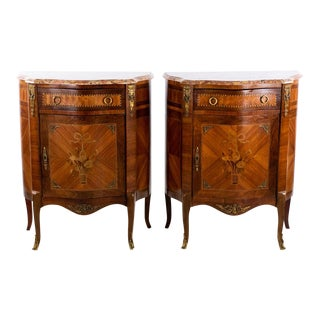 19th Century French Louis XV Style Satinwood and Marble Commodes - a Pair For Sale