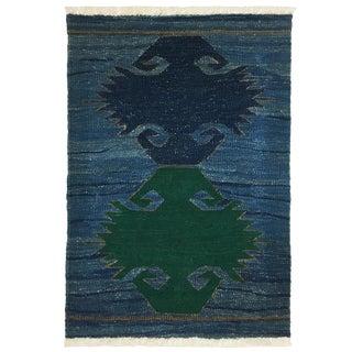 Rug & Relic Organic Modern Kilim in Proud Woman Motif For Sale