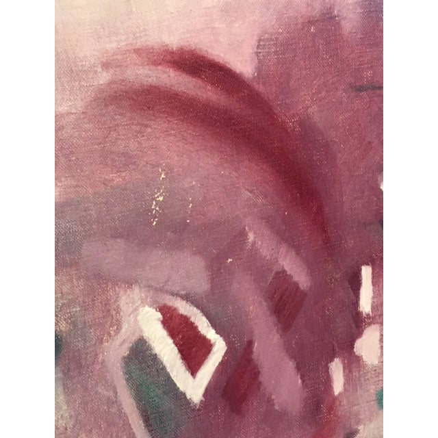 Vintage 1950's Abstract Acrylic Painting in Original Frame For Sale - Image 4 of 6