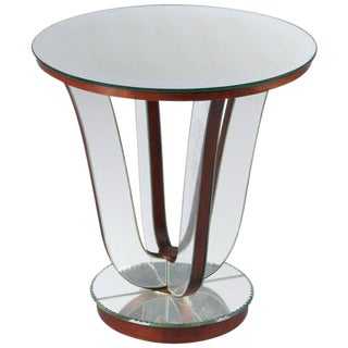 1950s Mid-Century Modern Mirrored Venetian Glass Side Table For Sale