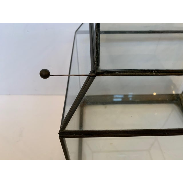 Metal Vintage Glass and Metal Terrarium For Sale - Image 7 of 9