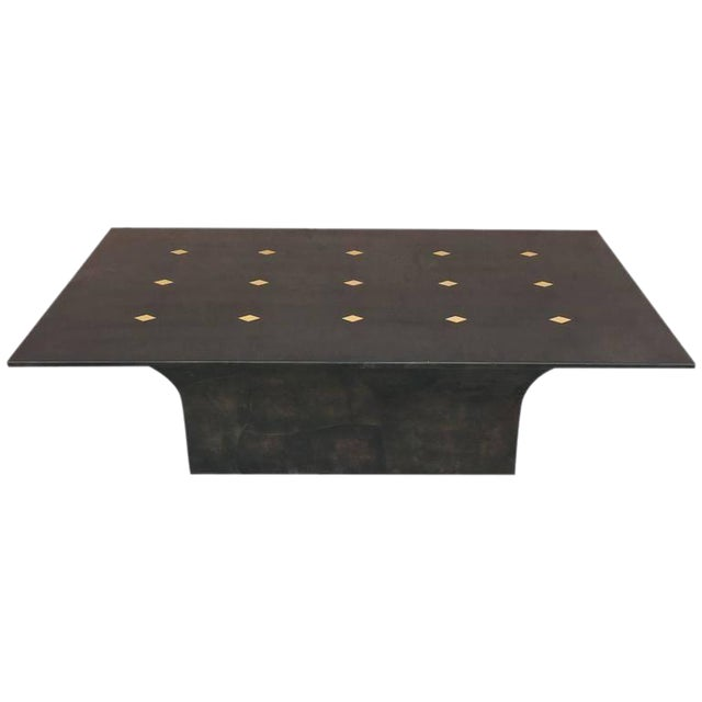"Stunning Goatskin ""Shagreen"" Lacquered Dining Table For Sale"