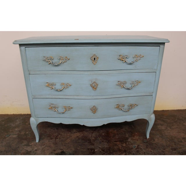 20th Century Vintage Painted Blue Commode For Sale - Image 9 of 9