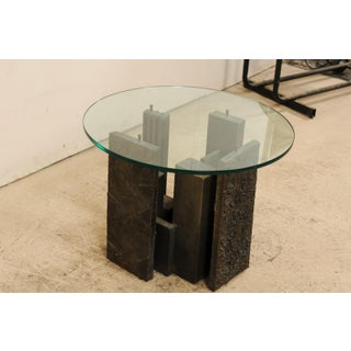 Artist Paul Evans Sculpted Brutalist Metal Side Table With Glass Top Preview