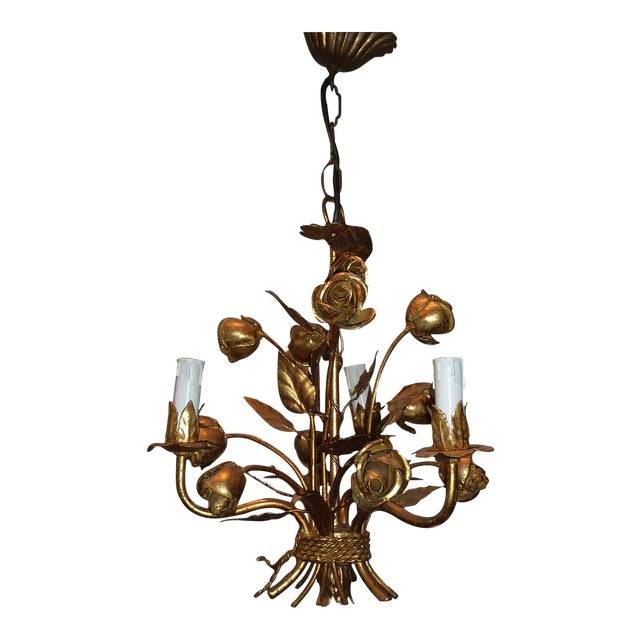 1960s Italian Gilded Rose Flower Chandelier - Image 1 of 8