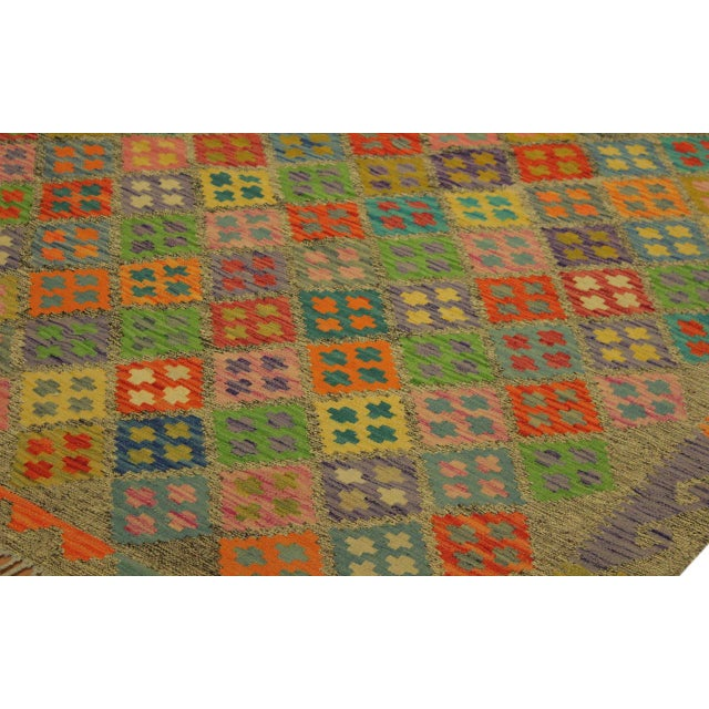 1990s Abstract Margheri Brown/Rust Hand-Woven Kilim Wool Rug -6'3 X 7'11 For Sale - Image 5 of 8