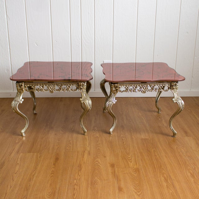Hollywood Regency Side Tables   Red Marbled Glass Cabriole Legs For Sale - Image 11 of 11