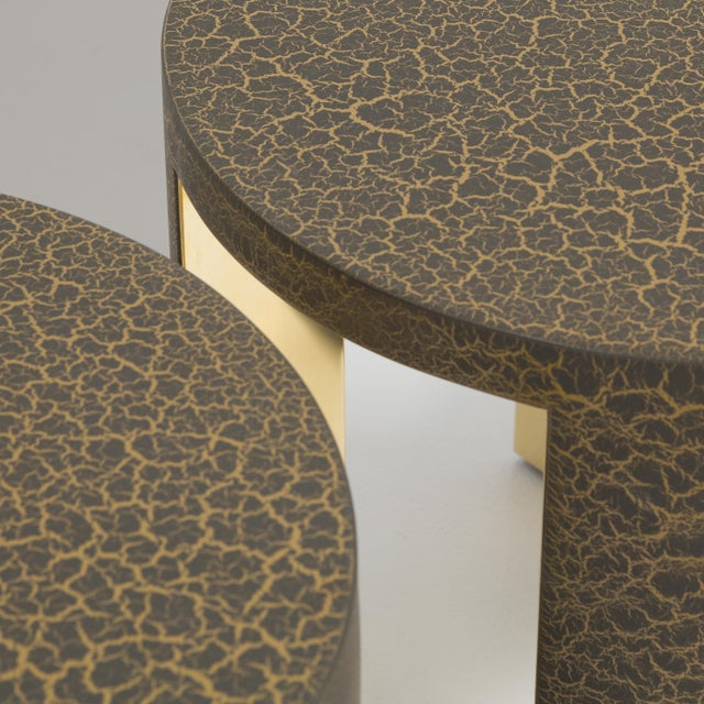 Gold The Circular Crackle Side Tables by Talisman Bespoke (Bronze and Gold) For Sale - Image 8 of 10