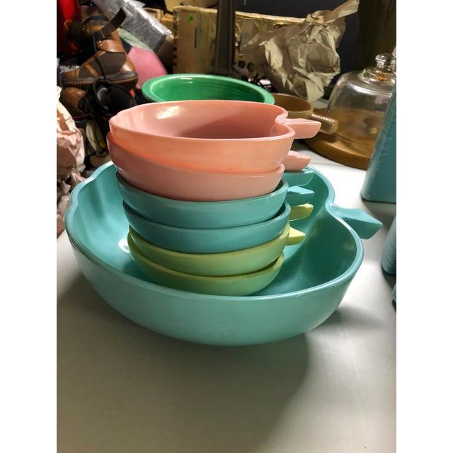 Vintage Hazel Atlas milk glass apple bowl set in pastel colors. Listing includes: 1 Large blue serving bowl 2 Blue bowls 2...