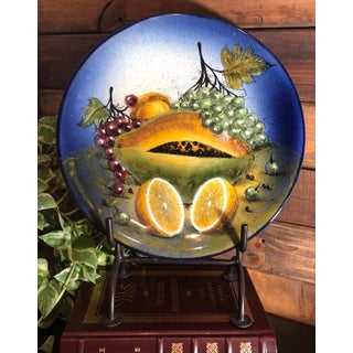 Rustic Southwestern Mexican Hand Painted Plate Fruit Decorative Blue and Yellow Preview