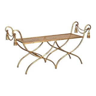 ITALIAN GILT IRON TASSEL AND ROPE BENCH For Sale